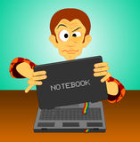 Computer geek notebook accident Stock Photography