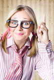 Nerd Female Salesman Pointing To Product Copyspace Stock Image