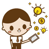 Computer- Geld und Idee der Geschäftsmanngebrauchstablette, die vom Schirm erscheint Lizenzfreie Stockfotografie