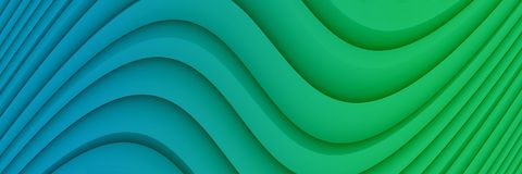 Colorful vivid blue and green abstract background illustration with soft curves and lines. Computer generated abstract fractal background banner illustration royalty free illustration