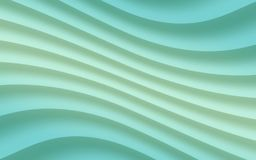Gradient shades of ice mint blue green diagonal soft flowing curves lines abstract wallpaper background illustration. Computer generated abstract fractal royalty free illustration