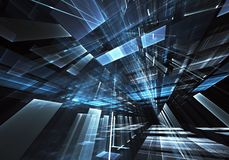 Abstract 3D fractal background, texture. Virtual Neon City. Computer generated abstract tehnology image. Three-dimensional 3D fractal, texture stock illustration