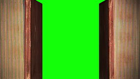Computer generated animation of an old wooden door opening to green screen. High definition 1080p.