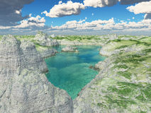 Aerial view of a tarn. Computer generated 3D illustration with an aerial view of a tarn royalty free illustration