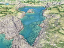 Aerial view of a tarn. Computer generated 3D illustration with an aerial view of a tarn vector illustration