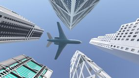Airliner flying over skyscrapers. Computer generated 3D illustration with an airliner flying over skyscrapers Stock Photo