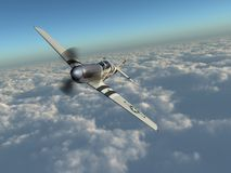 American fighter plane of World War II over the clouds. Computer generated 3D illustration with an American fighter plane of World War II over the clouds Royalty Free Stock Photos