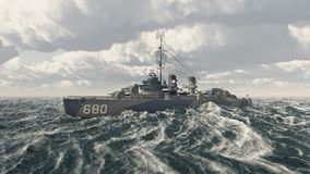 American warship of World War II. Computer generated 3D illustration with an American warship of World War II in the stormy sea Stock Photos