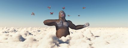Biplanes attack a giant gorilla. Computer generated 3D illustration with biplanes and giant gorilla attacking each other Stock Photo