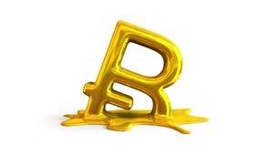 3D illustration of bitcoin symbol melting. Computer generated 3D illustration of bitcoin symbol melting on white background stock illustration