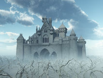Castle and dead trees in the fog. Computer generated 3D illustration with a castle and dead trees in the fog Stock Photography