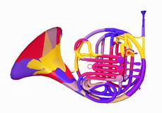 Colorful horn, musical instrument. Computer generated 3D illustration with a colorful horn isolated on white background Royalty Free Stock Images