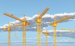 Construction cranes against a blue sky with clouds. Computer generated 3D illustration with construction cranes against a blue sky with clouds Royalty Free Stock Images