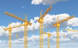 Construction cranes against a blue sky with clouds. Computer generated 3D illustration with construction cranes against a blue sky with clouds Stock Photos