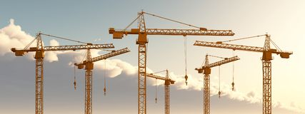 Construction cranes. Computer generated 3D illustration with construction cranes Royalty Free Stock Images