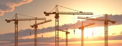 Construction cranes at sunset. Computer generated 3D illustration with construction cranes at sunset Royalty Free Stock Photo
