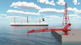Crane on a port dock and passing freighter. Computer generated 3D illustration with a crane on a port dock and passing freighter Royalty Free Stock Photos