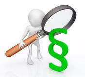 3D figure with magnifying glass and paragraph sign stock illustration