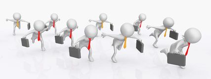 3D figures as running business people. Computer generated 3D illustration with 3D figures as running business people Stock Photography
