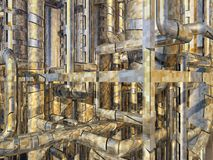 Oil refinery, detail. Computer generated 3D illustration with the detail of an oil refinery Stock Image