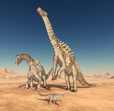 Dinosaur Ampelosaurus in the desert. Computer generated 3D illustration with the dinosaur Ampelosaurus in the desert Royalty Free Stock Photo
