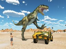 Dinosaur Bistahieversor attacks an off-road vehicle stock image
