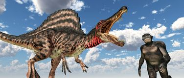 Dinosaur Spinosaurus and Homo habilis Royalty Free Stock Photography
