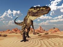 Dinosaur Torvosaurus in the desert stock illustration