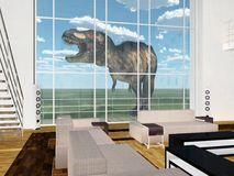 Tyrannosaurus Rex in front of living room with high window. Computer generated 3D illustration with the dinosaur Tyrannosaurus Rex in front of living room with Royalty Free Stock Photos