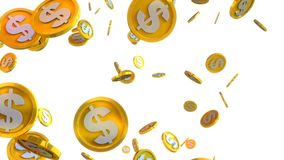 3D illustration of dollar coins falling on a white background. Computer generated 3D illustration of dollar coins falling on a white background Royalty Free Stock Photos