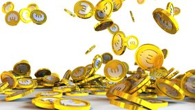 3D illustration of euro coins falling on a white background stock illustration