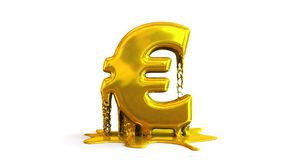3D illustration of euro symbol melting Stock Photos