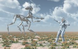Extraterrestrial life and female astronaut. Computer generated 3D illustration with extraterrestrial life and female astronaut stock illustration