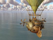 Fantasy hot air balloon over the sea Royalty Free Stock Photography