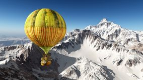 Fantasy hot air balloon over the mountains. Computer generated 3D illustration with a fantasy hot air balloon over snow covered mountains Royalty Free Stock Image