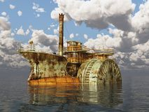 Fantasy steamboat against a cloudy sky. Computer generated 3D illustration with a fantasy steamboat from the Victorian era against a cloudy sky Royalty Free Stock Photography