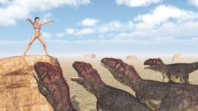 Female magician and dinosaurs Stock Photo