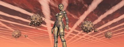 Female robot and busy aliens. Computer generated 3D illustration with female robot and busy aliens Stock Image