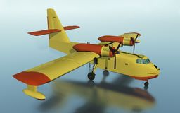 Firefighting plane. Computer generated 3D illustration with a firefighting flying boat amphibious aircraft Royalty Free Stock Image