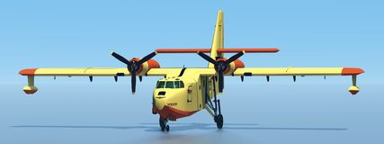 Firefighting plane. Computer generated 3D illustration with a firefighting flying boat amphibious aircraft stock illustration