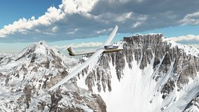 Glider over snow covered mountains. Computer generated 3D illustration with a glider over snow covered mountains Royalty Free Stock Image