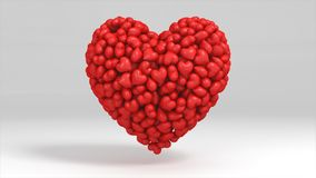 3D illustration of a heart filled with small hearts stock illustration