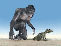 Homo habilis and baby dinosaur Megalosaurus. Computer generated 3D illustration with Homo habilis and baby dinosaur Megalosaurus Royalty Free Stock Image