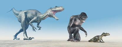 Homo habilis and baby dinosaur Megalosaurus. Computer generated 3D illustration with Homo habilis and baby dinosaur Megalosaurus Stock Image