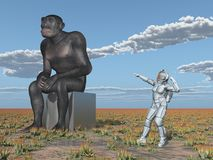 Homo habilis and female astronaut – Human evolution. Computer generated 3D illustration with Homo habilis and female astronaut Royalty Free Stock Image