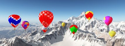 Hot air balloons over snow covered mountains. Computer generated 3D illustration with hot air balloons over snow covered mountains Royalty Free Stock Images
