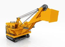 Huge excavator against a white background. Computer generated 3D illustration with a huge excavator against a white background Royalty Free Stock Image