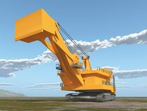 Huge excavator in a landscape. Computer generated 3D illustration with a huge excavator in a landscape Royalty Free Stock Photos