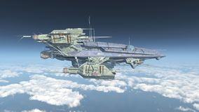 Huge spacecraft over the clouds. Computer generated 3D illustration with a huge spacecraft over the clouds Royalty Free Stock Photography