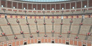 Inside view of the Colosseum in ancient Rome Royalty Free Stock Photography